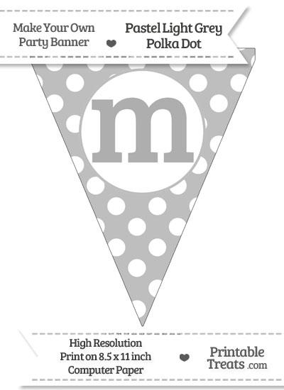 Pastel Light Grey Polka Dot Pennant Flag Lowercase Letter M from PrintableTreats.com