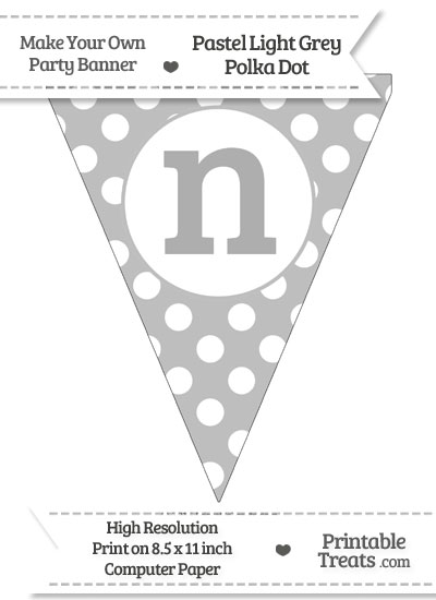 Pastel Light Grey Polka Dot Pennant Flag Lowercase Letter N from PrintableTreats.com