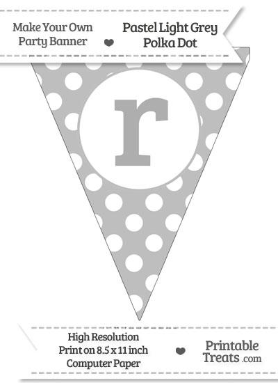 Pastel Light Grey Polka Dot Pennant Flag Lowercase Letter R from PrintableTreats.com