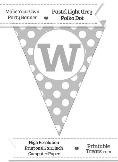 Pastel Light Grey Polka Dot Pennant Flag Lowercase Letter W from PrintableTreats.com