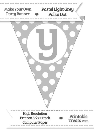Pastel Light Grey Polka Dot Pennant Flag Lowercase Letter Y from PrintableTreats.com