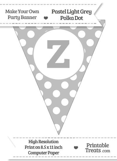Pastel Light Grey Polka Dot Pennant Flag Lowercase Letter Z from PrintableTreats.com