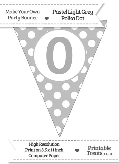 Pastel Light Grey Polka Dot Pennant Flag Number 0 from PrintableTreats.com