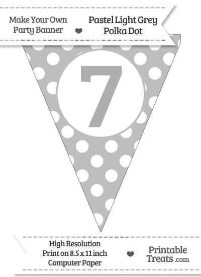 Pastel Light Grey Polka Dot Pennant Flag Number 7 from PrintableTreats.com
