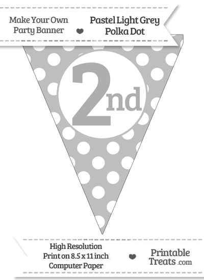 Pastel Light Grey Polka Dot Pennant Flag Ordinal Number 2nd from PrintableTreats.com