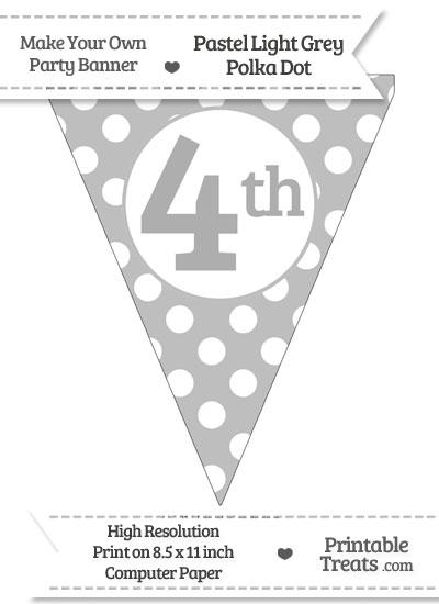 Pastel Light Grey Polka Dot Pennant Flag Ordinal Number 4th from PrintableTreats.com