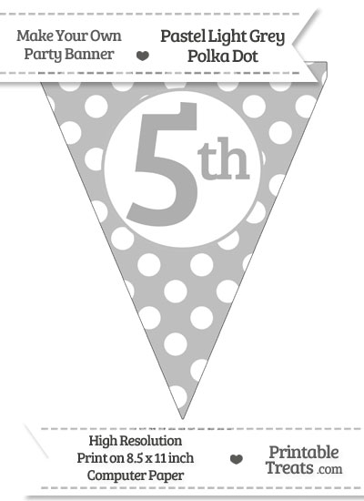 Pastel Light Grey Polka Dot Pennant Flag Ordinal Number 5th from PrintableTreats.com