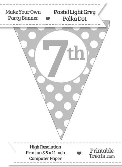 Pastel Light Grey Polka Dot Pennant Flag Ordinal Number 7th from PrintableTreats.com