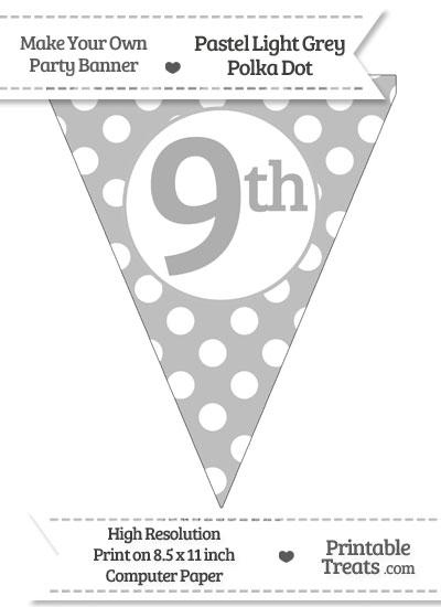 Pastel Light Grey Polka Dot Pennant Flag Ordinal Number 9th from PrintableTreats.com