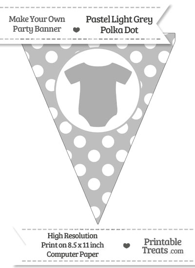 Pastel Light Grey Polka Dot Pennant Flag with Baby Onesie from PrintableTreats.com