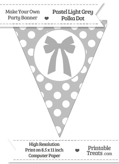 Pastel Light Grey Polka Dot Pennant Flag with Bow from PrintableTreats.com