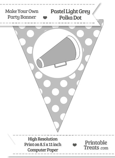 Pastel Light Grey Polka Dot Pennant Flag with Cheer Megaphone Facing Right from PrintableTreats.com