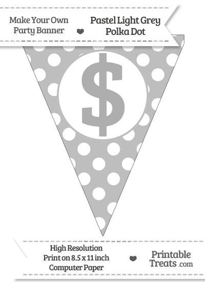 Pastel Light Grey Polka Dot Pennant Flag with Dollar Sign from PrintableTreats.com