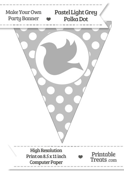 Pastel Light Grey Polka Dot Pennant Flag with Dove Facing Left from PrintableTreats.com