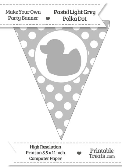 Pastel Light Grey Polka Dot Pennant Flag with Duck Facing Left from PrintableTreats.com