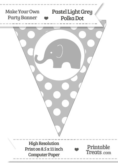 Pastel Light Grey Polka Dot Pennant Flag with Elephant Facing Left from PrintableTreats.com