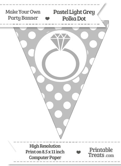 Pastel Light Grey Polka Dot Pennant Flag with Engagement Ring from PrintableTreats.com