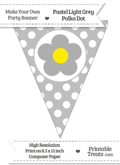 Pastel Light Grey Polka Dot Pennant Flag with Flower from PrintableTreats.com