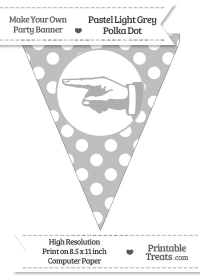 Pastel Light Grey Polka Dot Pennant Flag with Hand Pointing Left from PrintableTreats.com