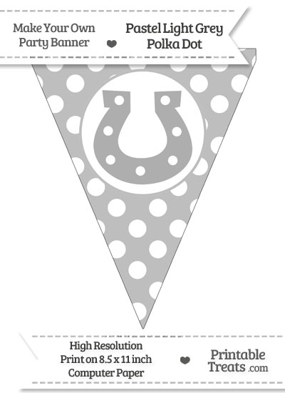 Pastel Light Grey Polka Dot Pennant Flag with Horseshoe from PrintableTreats.com