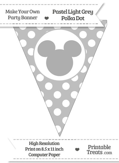 Pastel Light Grey Polka Dot Pennant Flag with Mickey Mouse from PrintableTreats.com
