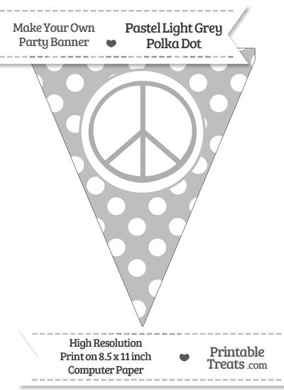 Pastel Light Grey Polka Dot Pennant Flag with Peace Sign from PrintableTreats.com