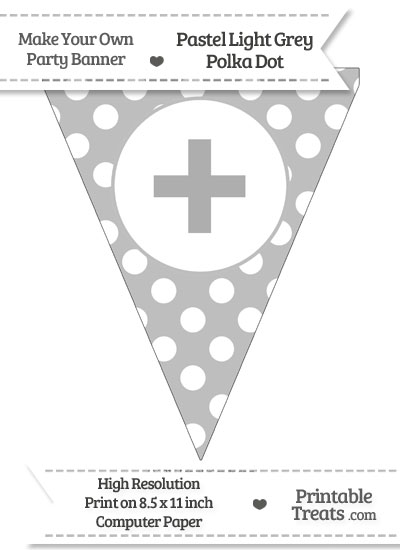 Pastel Light Grey Polka Dot Pennant Flag with Plus Sign from PrintableTreats.com