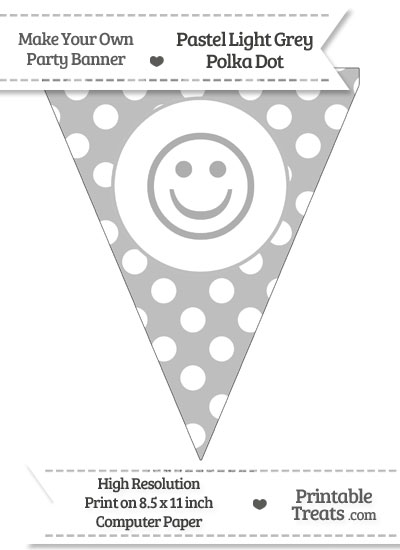 Pastel Light Grey Polka Dot Pennant Flag with Smiley Face from PrintableTreats.com