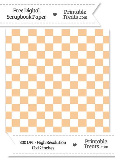 Pastel Light Orange Checkered Pattern Digital Paper from PrintableTreats.com