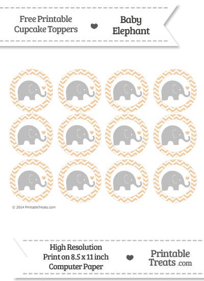 Pastel Light Orange Chevron Baby Elephant Cupcake Toppers from PrintableTreats.com