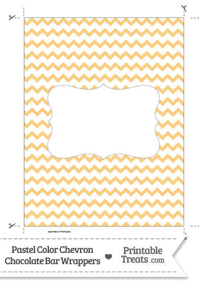 Pastel Light Orange Chevron Chocolate Bar Wrappers from PrintableTreats.com