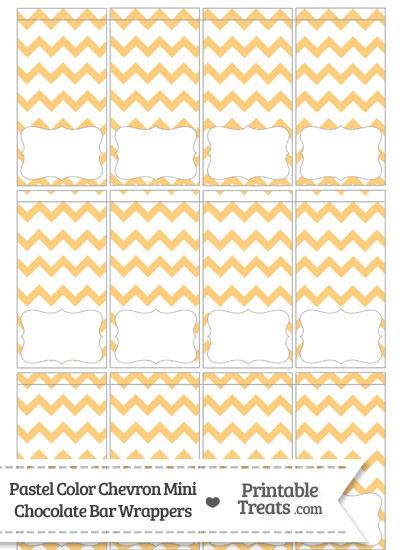 Pastel Light Orange Chevron Mini Chocolate Bar Wrappers from PrintableTreats.com