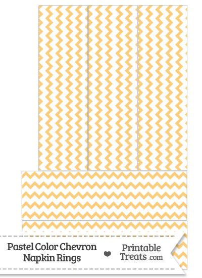 Pastel Light Orange Chevron Napkin Rings from PrintableTreats.com