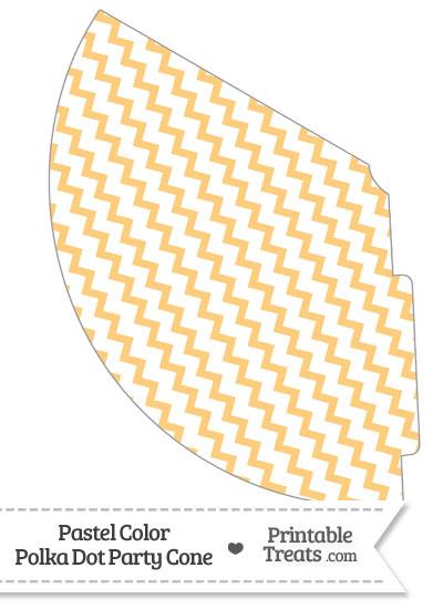 Pastel Light Orange Chevron Party Cone from PrintableTreats.com