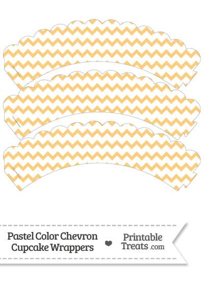 Pastel Light Orange Chevron Scalloped Cupcake Wrappers from PrintableTreats.com