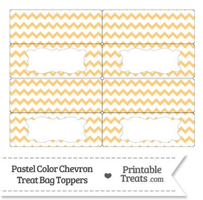 Pastel Light Orange Chevron Treat Bag Toppers from PrintableTreats.com
