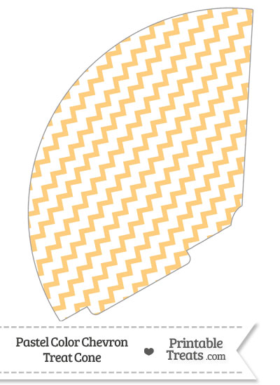 Pastel Light Orange Chevron Treat Cone from PrintableTreats.com