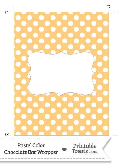 Pastel Light Orange Polka Dot Chocolate Bar Wrappers from PrintableTreats.com