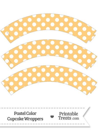 Pastel Light Orange Polka Dot Cupcake Wrappers from PrintableTreats.com