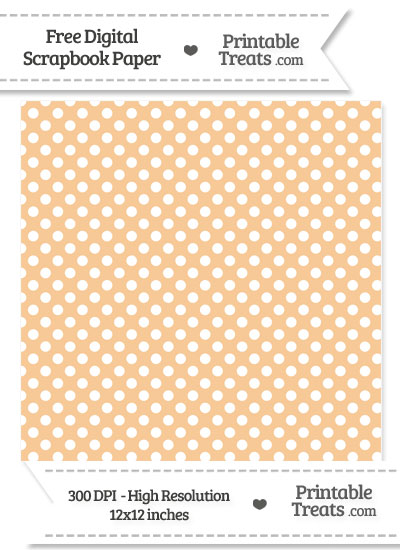 Pastel Light Orange Polka Dot Digital Paper from PrintableTreats.com