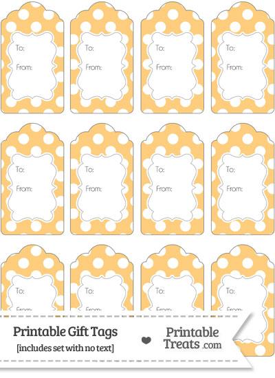 Pastel Light Orange Polka Dot Gift Tags from PrintableTreats.com
