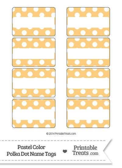 Pastel Light Orange Polka Dot Name Tags from PrintableTreats.com