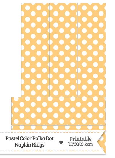 Pastel Light Orange Polka Dot Napkin Rings from PrintableTreats.com