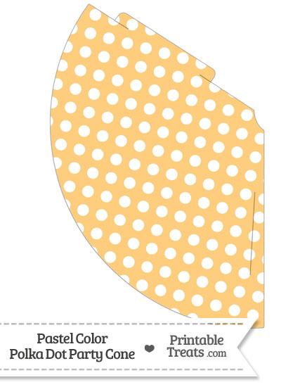 Pastel Light Orange Polka Dot Party Cone from PrintableTreats.com
