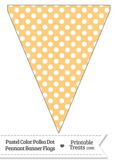 Pastel Light Orange Polka Dot Pennant Banner Flag from PrintableTreats.com