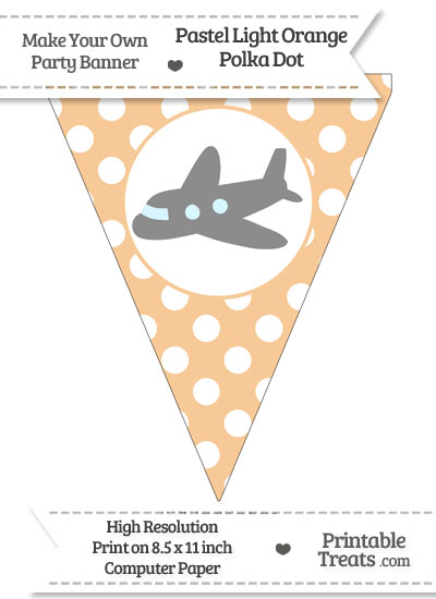 Pastel Light Orange Polka Dot Pennant Flag with Airplane Facing Left Download from PrintableTreats.com