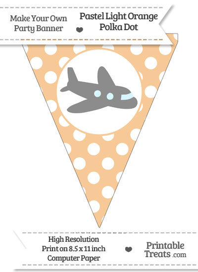 Pastel Light Orange Polka Dot Pennant Flag with Airplane Facing Right Download from PrintableTreats.com