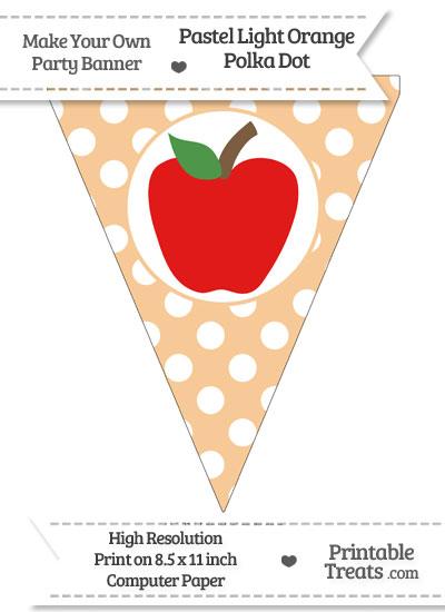 Pastel Light Orange Polka Dot Pennant Flag with Apple Download from PrintableTreats.com