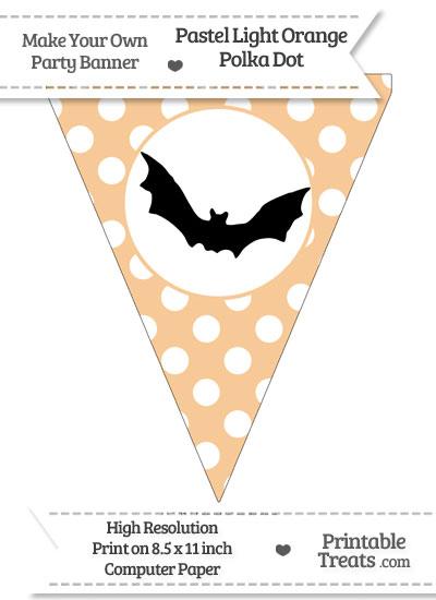 Pastel Light Orange Polka Dot Pennant Flag with Bat Download from PrintableTreats.com