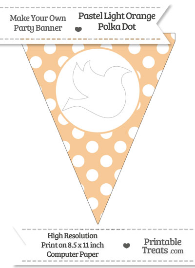Pastel Light Orange Polka Dot Pennant Flag with Dove Facing Right Download from PrintableTreats.com